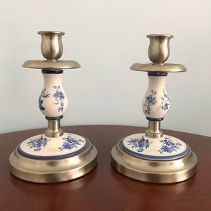 Set of 2 porcelain S/ Steel Candlesticks Holders
